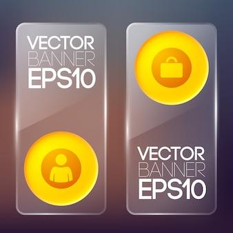 Веб-стеклянные вертикальные баннеры с оранжевыми круглыми кнопками и изолированными бизнес-значками