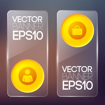 Web glass vertical banners with orange round buttons and business icons isolated