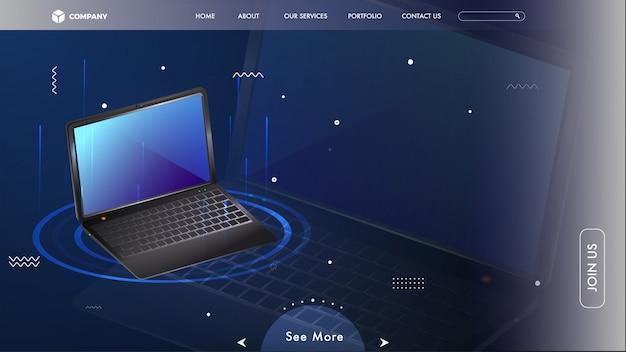 青い背景のラップトップとwebヒーローイメージ。