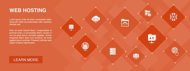 Web hosting banner 10 icons concept.domain name, bandwidth, database, internet simple icons