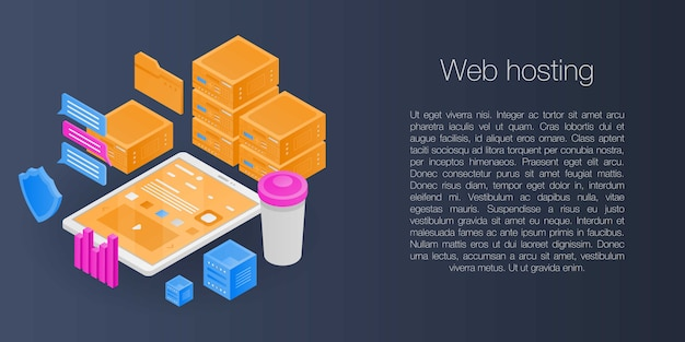 Web hosting concept banner, isometric style