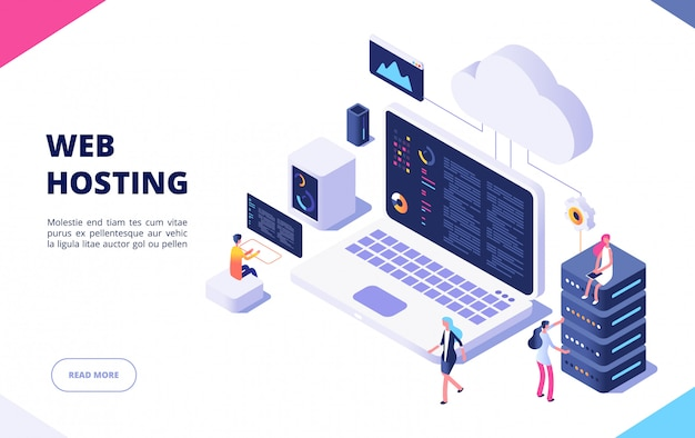 Web hosting concept. cloud computing online database technology security computer web data center server isometric landing  page
