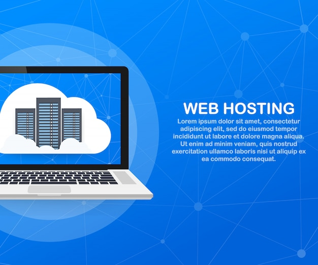 Web hosting concept with cloud computing design.