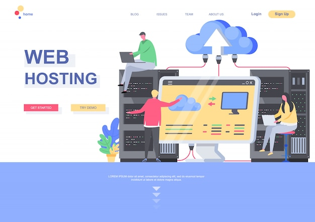 Web hosting flat landing page template. it specialists admining server hardware situation. web page with people characters. cloud computing technology, hosting and support services illustration