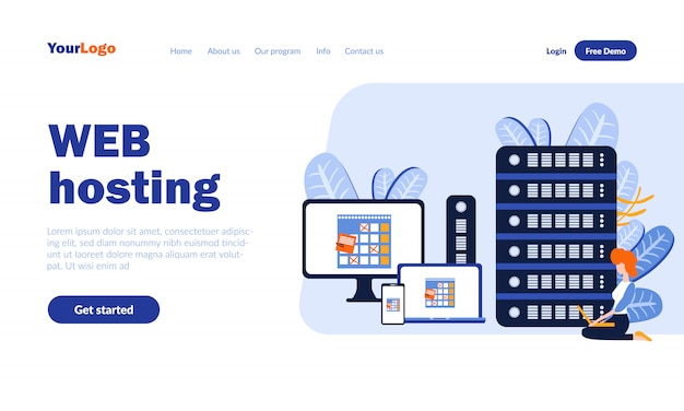 Web hosting flat landing page template with header