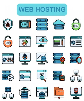 Web hosting icons set, lineal color style
