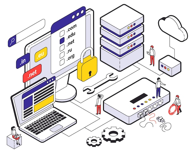 Web hosting isometric colored composition with choice of hosting cloud storage for websites