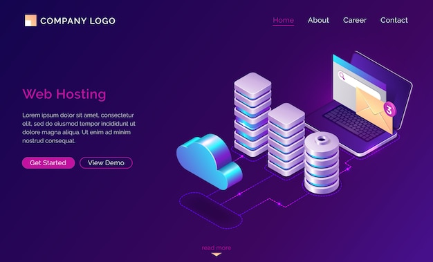 Web hosting, isometric web template