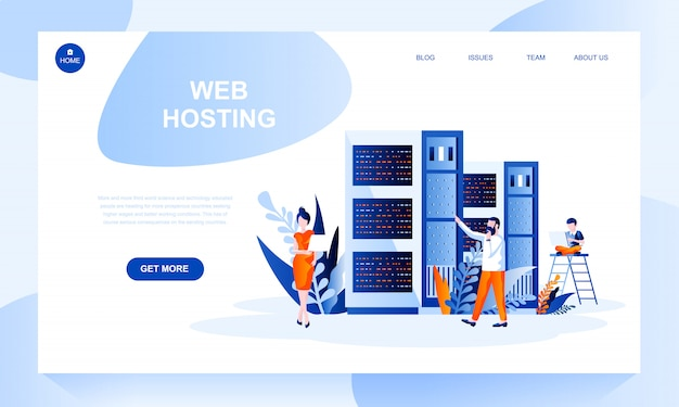 Web hosting landing page template with header