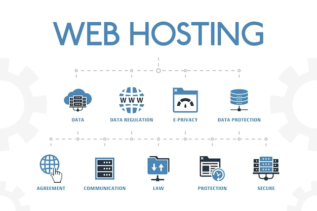 Web hosting modern concept template with simple 2 colored icons. contains such icons as domain name, bandwidth, database, internet and more