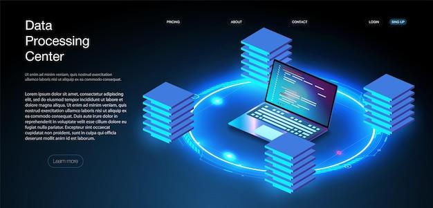 웹 호스팅 또는 프로그래밍 개념입니다. 웹 프로그래밍 개발, ui ux 인터페이스가 있는 노트북. 컴퓨터 웹 데이터 센터 서버 아이소메트릭 방문 벡터 페이지입니다. 벡터 일러스트 레이 션