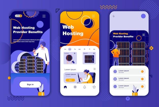 Web hosting provider mobile app screens template for social networks stories