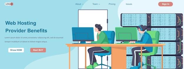 Web hosting providers benefits banner concept