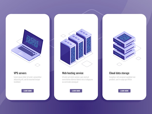 Web hosting service isometric icon, vps server room, data warehouse cloud storage