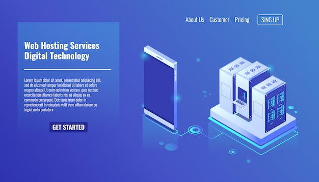 Web hosting services, isometric server room, digital technology, server rack