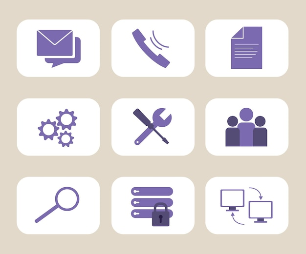 Web hosting and technical support icons set