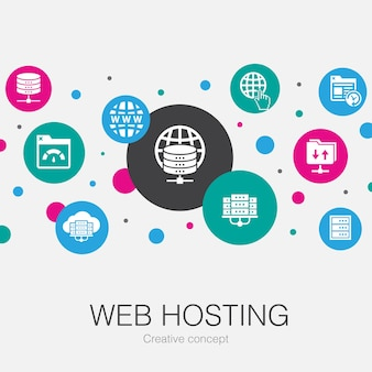 Web hosting  trendy circle template with simple icons. contains such elements as domain name, bandwidth, database, internet