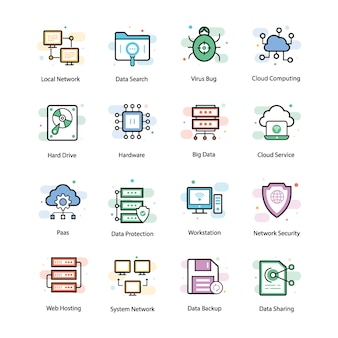 Web hosting vector icons