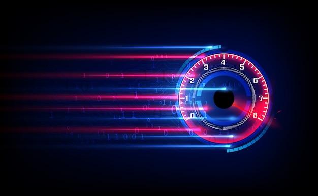 Web速度の進行状況バーまたはラウンドインジケーターをダウンロードします。 hudの背景のスポーツ車のスピードメーター。