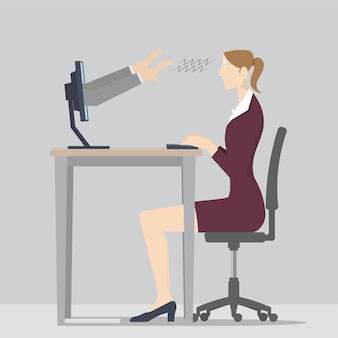 Web hypnosis concept. two hands coming out of a computer screen to hypnotize a woman.