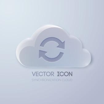 Концепция веб-иконки со стеклянным облаком и знаком вращения