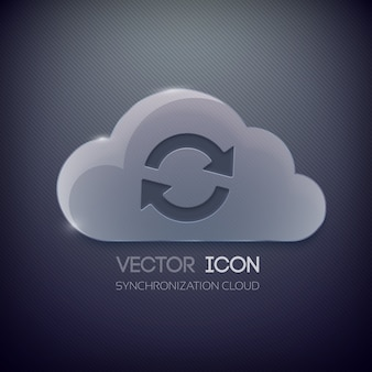 Web icon concept with glass cloud and rotation sign