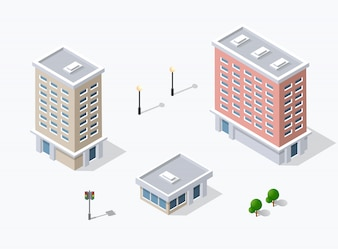 Webアイコン等角3D都市インフラ、都市
