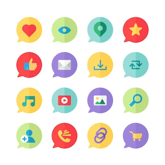 Web icons for blog and social networks, online shopping and email, files of video