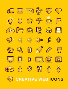 Web icons set linear flat outline style  icon.
