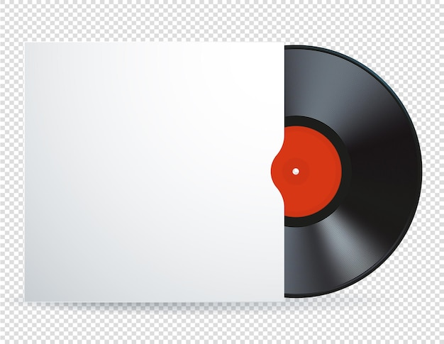 Web illustration of  music  vinyl record disk with blank white cover and red label.