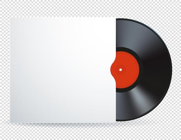 空白の白いカバーと赤いラベルの音楽ビニールレコードディスクのwebイラスト。