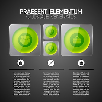 Web infographic business template with green circles in gray glass square frames and icons