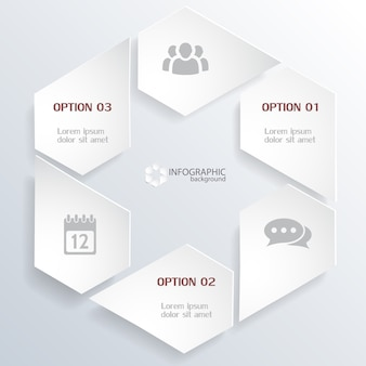 Web infographic concept with gray elements in hexagonal shape and icons isolated