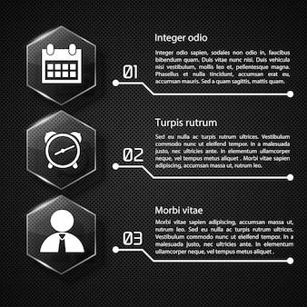Концепция веб-инфографики с текстовыми стеклянными шестиугольниками и белыми значками, три варианта на темной сетке