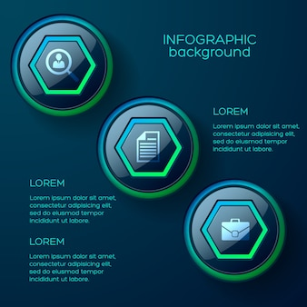Web infographic concept with three colorful glossy web buttons and business icons