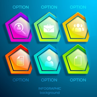 ビジネスアイコンと6つの光沢のあるカラフルな六角形の要素が分離されたwebインフォグラフィックデザインコンセプト