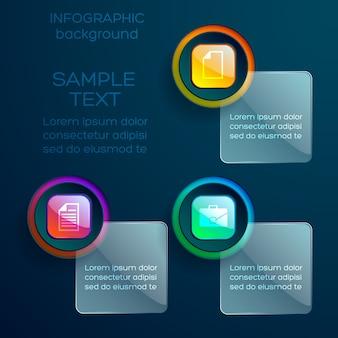 Веб-инфографический шаблон с бизнес-значками, красочными глянцевыми кнопками и стеклянными квадратами с изолированным текстом