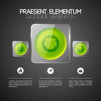 ガラスの正方形のフレームにビジネスアイコン3つの緑色の丸いボタンとwebインフォグラフィックテンプレート