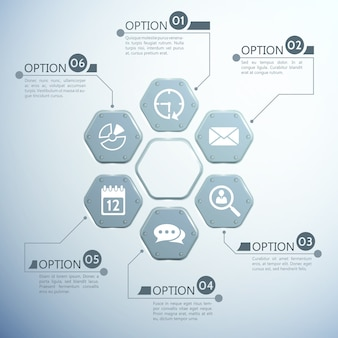 Web infographic template with metal hexagons six options and white icons