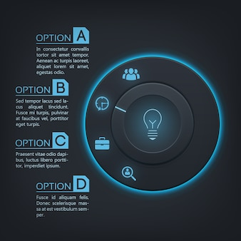 Инфографика веб-интерфейса с круглой кнопкой с синей подсветкой, четыре варианта и значки