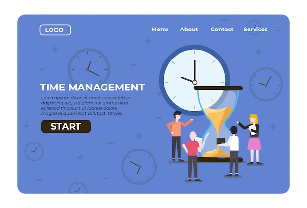 Web landing management time with countdown sand hourglass