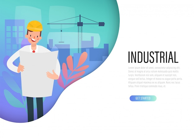 Web landing page of construction engineer industry.