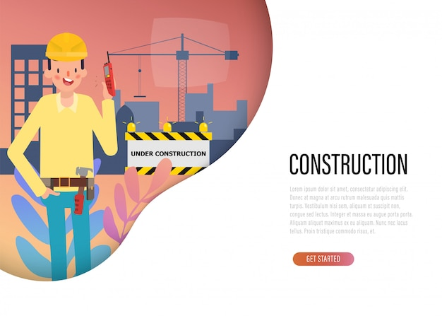 Web landing page of construction engineering industry.