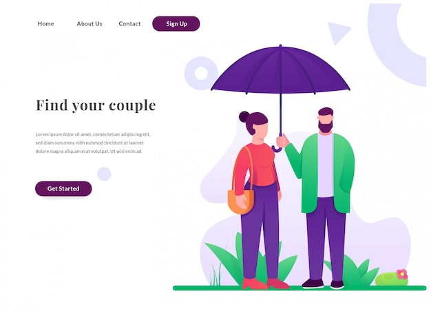 Web landing page couple with umbrella