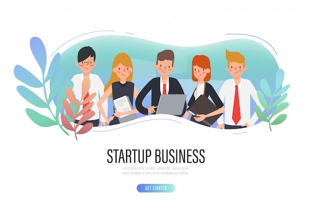 ビジネスチームワークグループの人々のwebランディングページ。