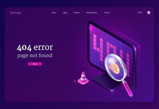 Layout web con pagina di errore 404 non trovato