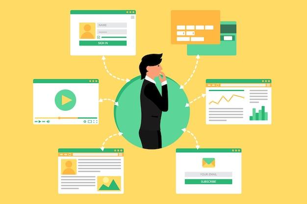 비디오, 블로그, 소셜 네트워크, 온라인 쇼핑 및 이메일에서 사업가의 웹 생활. 그래픽 사용자 인터페이스 및 웹 페이지 양식 및 요소. 벡터
