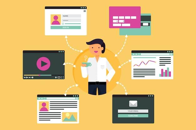 비디오, 블로그, 소셜 네트워크, 온라인 쇼핑 및 이메일에서 사업가의 웹 라이프.
