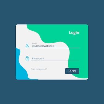 Web login ui design template vector