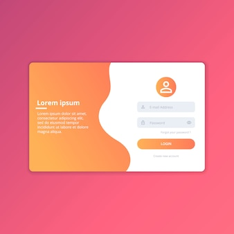 Web login ui design template vector